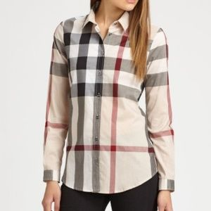 Burberry Brit Exploded Nova Check BLOUSE  M EUC